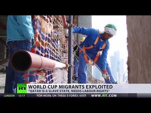 Modern - Migrant workers in Qatar helping to construct offices for the 2022 World Cup reportedly haven't been paid after a year of toiling in the desert heat in slum like conditions. Sharan Burrow from...