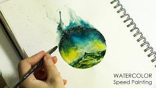 Скоростное рисование - планета, горы и река со звездами акварелью. Простые акварельные рисунки - Алексей Михайлов