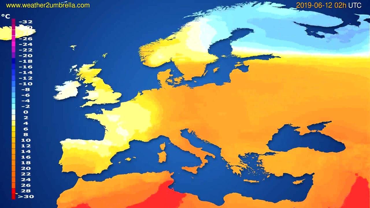 Temperature forecast Europe // modelrun: 12h UTC 2019-06-09