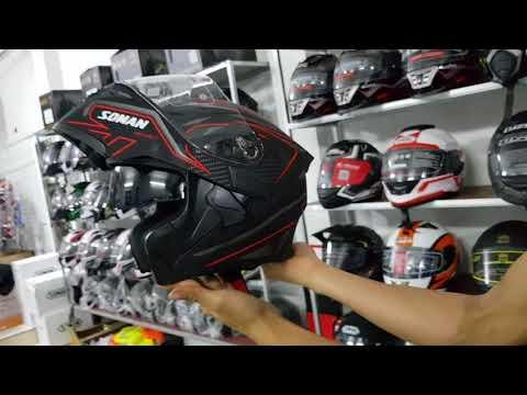 Mũ bảo hiểm lật hàm Soman K5 2 kính 2018