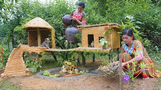 Building Mud House Dog For Rescue Abandoned Puppies And Fish Pond For Red Fish