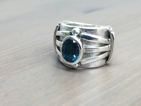 London Blue Topaz Ring Fabrication and Stone Setting by HotTorStudio