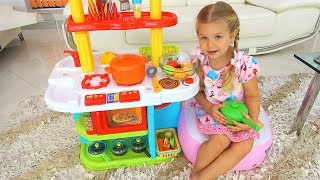 Roma and Diana Pretend Play Cooking Food Toys with Kitchen Play Set
