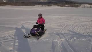 9. Ripping around on the Arctic Cat ZR 200 and Polaris Indy 120