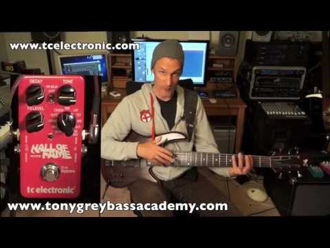 In this video bass player Tony Grey is doing a demo of Hall of Fame Reverb pedal from TC Electronic.