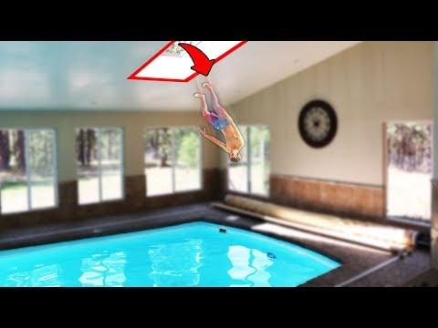Video Secret Roof Jump to Indoor Pool!! (DANGER ALERT) download in MP3, 3GP, MP4, WEBM, AVI, FLV January 2017