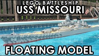 Floating model of the famous battleship Missouri constructed out of LEGOs づ。◕‿‿◕。)づ Since the last time you seen this model I have changed the way the turrets look, they are now 2 studs longer and 2 studs wider to make them look more proportionally correct.TIMELAPSE VIDEO:https://www.youtube.com/watch?v=NZ2c_AqUQGY3D MODEL:http://www.hagermanships.com/IMGUR GALLERYhttps://imgur.com/gallery/aZn5VThis model lego ship is over 7 feet long and is nearly a foot wide.  It took over 10,000 LEGO bricks to build this model, with all the bricks weighing over 34 pounds.  It would cost over $1000 dollars for you to build your own one of these.  One might notice that for the size of the model it isn't particularly detailed this is so I can save money and this model is built for the sole purpose of sinking it in a video, not for long term display.The USS Missouri is probably one of the most famous of the American Battlewagons, this ship served from WWII until after the Gulf War.  This is the ship the Japanese surrendered on during WWII.  The ship is armed with a main battery of nine, sixteen inch guns arranged in three triple turrets.  The ship also had a secondary armament of twenty, five inch guns.  But at the end of its life it had only twelve, five inch guns arranged in six twin turrets.  This is a model of the ship in its final state.  I wasn't going to try and make it a WWII version with all those anti aircraft guns scattered across it.One should not that the hull is purposely wider than it should be compared to the length of the ship, this is to help with balancing the ship as its alot harder to make a LEGO ship float versus a regular modelMusic: Thunderer March performed by a US Military Band