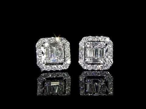 Lady's 14k White Gold 1.22ct (TDW) Cluster Diamond Earrings