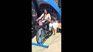Biking for an Organic Stonyfield smoothie at Expo West