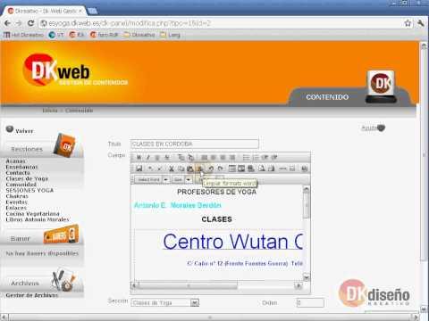 Limpiar código de Ms Word al copiar/pegar en Dk Web Gestor de Contenidos