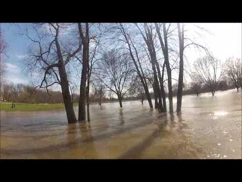 Crazy Dude Jet Skied down the Grand River during the BIG Flood in April.  Would you do it?!