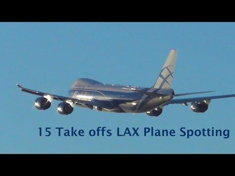 15 Take offs LAX spotting - B747, B788, B752, B772, B738, A380, A319, A321, E75L