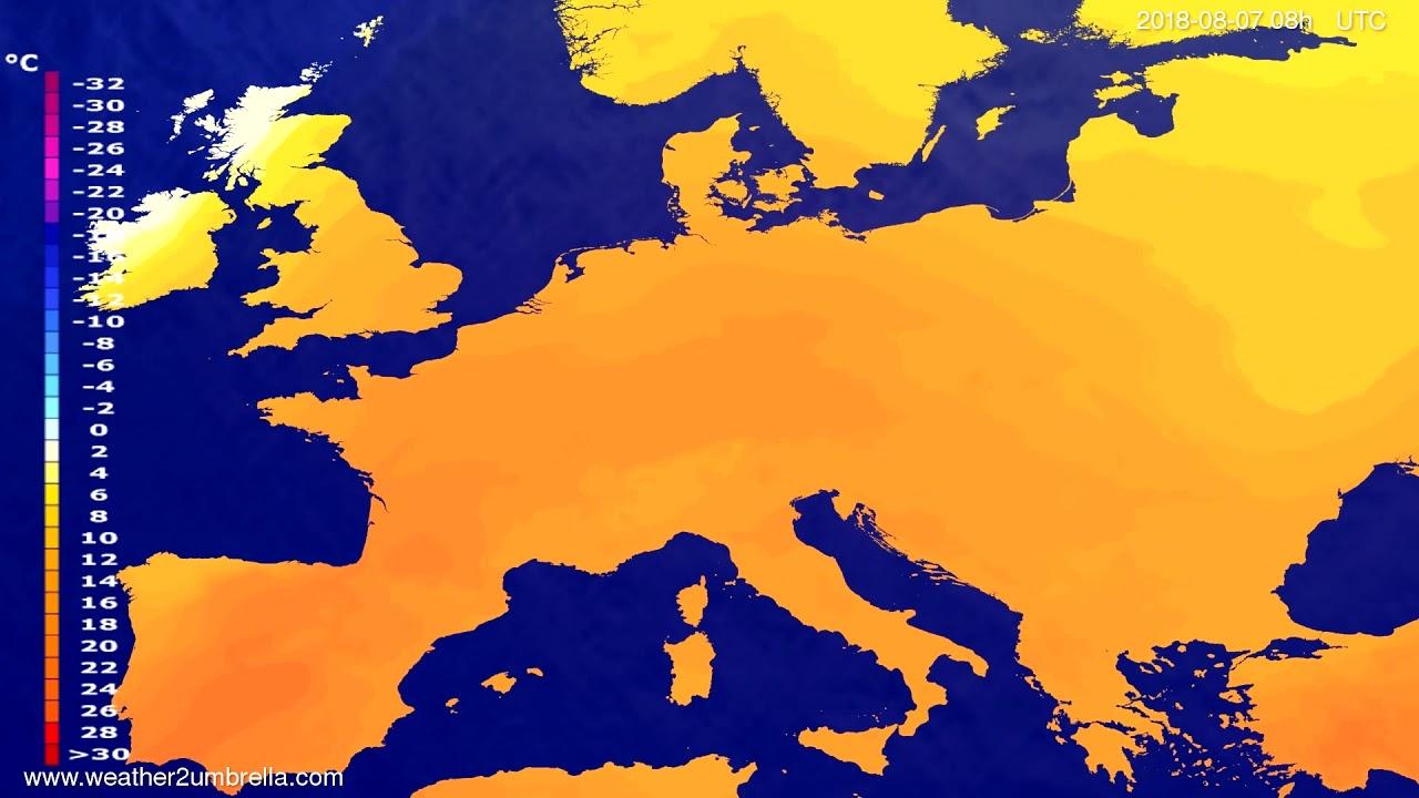 Temperature forecast Europe 2018-08-04