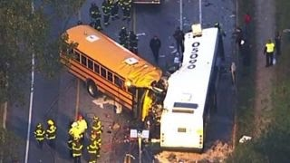 School bus collides with commuter bus in head-on crash