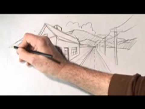 Perspective - Karl draws a road, house and phone poles all disappearing into distant mountains. The road, phone poles and front of the house are all in one-point perspecti...