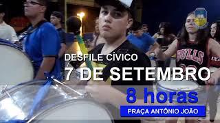 Venha participar do desfile cívico, dia 7 de setembro as 8 horas na praça Antônio João.