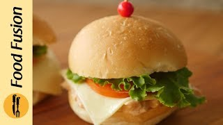 Here is a kids special, Mini Chicken Burger. If a 9 year old can make it then so can you. #HappyCookingToyouRecipe in English:Ingredients:-Chicken boneless boiled 250 gms-Mayonnaise ½ Cup-Tomato ketchup 3 tbs-BBQ sauce 1 tbs-Namak (Salt) 1-2 pinches-Lehsan powder (Garlic powder) 1-2 pinches-Kali mirch powder (Black pepper powder) to taste-Mini burger buns -Cheese slice-Tomato slice-Lettuce leaveDirections:-Shred boiled chicken.-In bowl,add shredded chicken,mayonnaise,tomato ketchup,bbq sauce,salt,garlic powder,black pepper powder and mix well,(makes 6-8 mini burgers).Assembling:-On mini burger bun,add chicken mixture,place cheese slice & tomato slice,lettuce leaf and place another bun on top.-Mini chicken burger is ready.Recipe in Urdu:Ajza:-Chicken boneless boiled 250 gms-Mayonnaise ½ Cup-Tomato ketchup 3 tbs-BBQ sauce 1 tbs-Namak (Salt) 1-2 pinches-Lehsan powder (Garlic powder) 1-2 pinches-Kali mirch powder (Black pepper powder) to taste-Mini burger buns -Cheese slice-Tomato slice-Lettuce leaveDirections:-Boiledchicken ko shred ker lein.-Bowl mein shredded chicken,mayonnaise,tomato ketchup,bbq sauce,namak,lehsan powder aur kali mirch powder dal ker ache tarhan mix ker lein (makes 6-8 mini burgers).Assembling:-Mini burger bun per chicken mixture dal dein,cheese slice & tamatar slice,lettuce leaf rakh ker upper sa dusra bun rakh dein.-Mini chicken burger tayyar hai.
