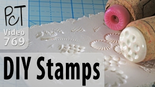 """Would you love to have tons of cool texture stamps for stamping into your polymer clay, but don't have the budget to purchase the pre-made ones? Now you can make your own awesome polymer clay stamps using buttons, wine corks and some hot glue!For more info and related links about this DIY technique for making your own texture stamps for polymer clay, pease visit our PcT blog (Video #769)... http://www.beadsandbeading.com/blog/?p=82Polymer Clay Tutor, Cindy Lietz & Doug Lietz""""Love What You make... Make what You make."""""""