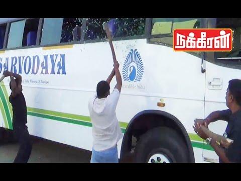Tamil-activists-attack-Karnataka-buses-Cauvery-water-dispute