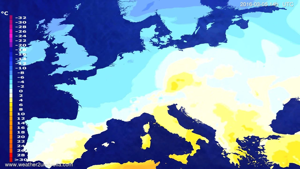 Temperature forecast Europe 2016-03-01
