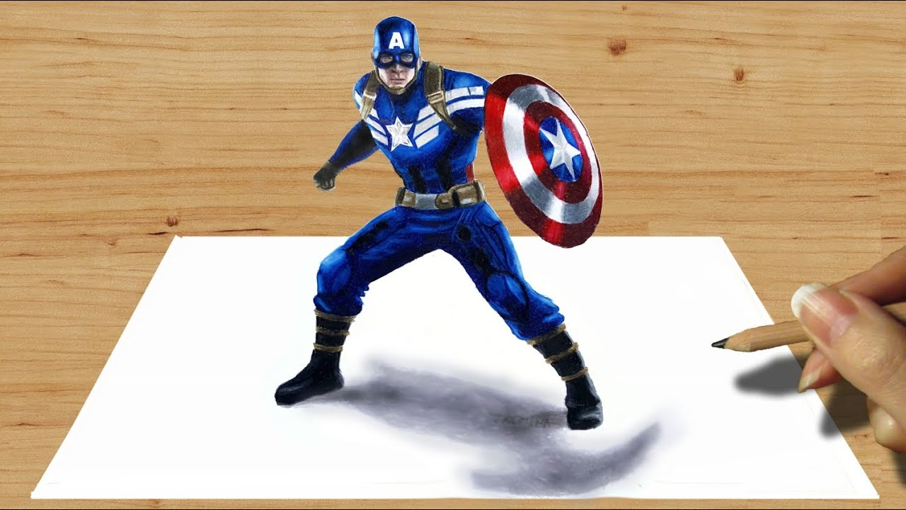 3D Pencil Drawing Captain America - 3D Drawing tutorialby Jasmina Susak