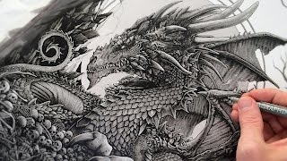 Here is a little work in progress (WIP) vid of a dragon themed piece I did recently. Very happy to finally have a dragon commission! Something I have wanted to do for a long time. I kept the line work and shading bold in this as it is to be scanned in, coloured and turned into a T-Shirt design for my client. What you see here is primarily fine liners and pro markers. A night sky was later added around the moon and various highlights to make things pop. I will be releasing a coloured and signed print version of this artwork that will be available in my online store later this month. 'Who'd have thought we'd meet as bones beneath the dragons feet' Hope you like and please subscribe to my YouTube channel for more vids! :)  x