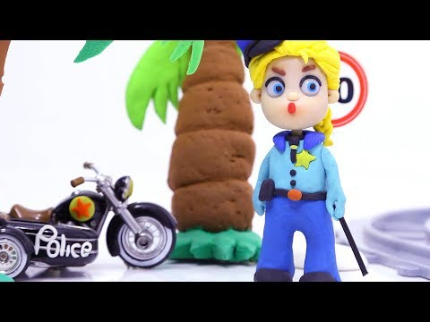 Superhero Police woman Play Doh Stop motion cartoons for kids