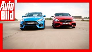 Drag Race Mercedes-AMG A 45 vs. Ford Focus RS Review/Sound/ by Auto Bild