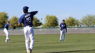 March 25, 2016-Dodger pitchers play catch during Spring Training workouts at Camelback Ranch, AZ. Featured pitchers include Brandon Beachy, Kenta Maeda, Alex Wood, Scott Kazmir plus Clayton Kershaw and Hyun-jin Ryu. Manager Dave Roberts and pitching coach Rick Honeycutt look on.Read me at http://dodgersdigest.com/author/stacie-wheeler/  and  http://www.hardballtimes.com/author/s...Follow me @organicallyrude on https://twitter.com/organicallyrude and https://www.instagram.com/organically...Subscribe to DishingUpTheDodgers!Go Blue!