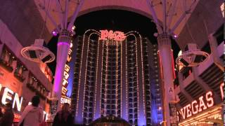 Plaza Hotel and Casino Las Vegas Downtown at Night on the famous Fremont Street Experience FSE Nevada NV - http://www.travellinksdirectory.com/links/las_vega...