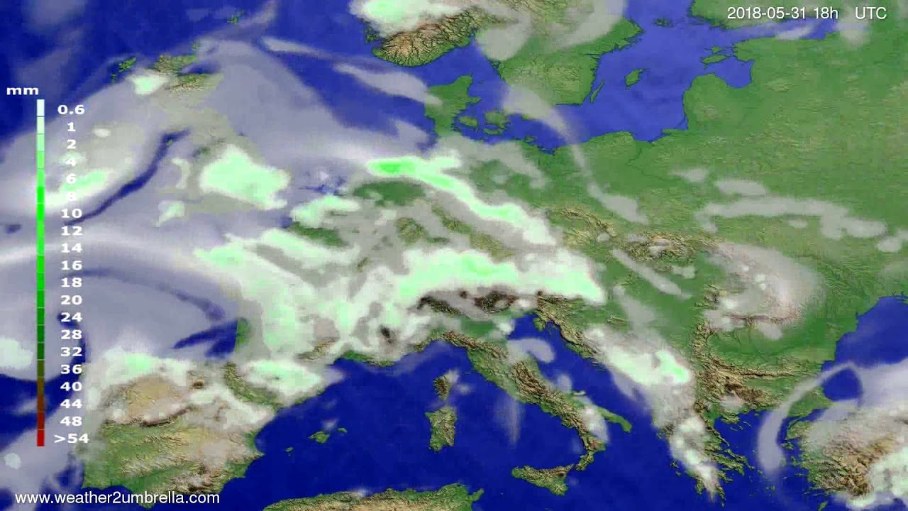 Precipitation forecast Europe 2018-05-28