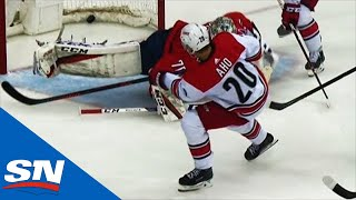 Sebastian Aho Bangs In Own Rebound For Shorty Against Capitals by Sportsnet Canada