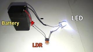 LDR Darkness Sensor Circuit Simple DIY with LED