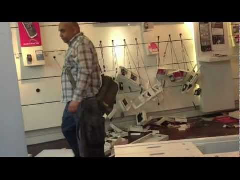 Angry Man Destroys T-Mobile Shop In Manchester