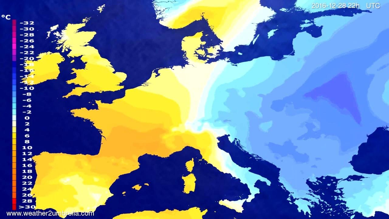 Temperature forecast Europe 2016-12-26