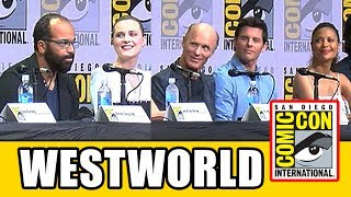 Westworld Comic Con 2017 panel news & highlights with Evan Rachel Wood (Dolores), Ed Harris (Man in Black), James Marsden (Teddy), Thandie Newton (Maeve), Jimmi Simpson (William), Ben Barnes (Logan), Ingrid Bolsø Berdal (Armistice), Luke Hemsworth (Stubbs), Simon Quarterman (Lee Sizemore), Rodrigo Santoro (Hector), Angela Sarafyan (Clementine), Tessa Thompson (Charlotte Hale), Shannon Woodward (Elsie) & Jeffrey Wright (Bernard/Arnold).Subscribe for more! ► http://bit.ly/FlicksSubscribeN.B. Footage, clips, previews, trailers & sneak peeks shown at Comic Con panels are not included in this video, as these are not allowed to be filmed. RELATED VIDEOS--------------WTF Facts About Westworld ► http://youtu.be/tDtaRd26d9oPLAYLISTS YOU MIGHT LIKE------------------------Marvel ► http://bit.ly/MarvelVideosFox Marvel Movies ► http://bit.ly/FoxMarvelVideosDC ► http://bit.ly/DCVideosMovie Deleted Scenes & Rejected Concepts ► http://bit.ly/MovieDeletedScenesEaster Eggs ► http://bit.ly/EasterEggVideosAmazing Movie Facts ► http://bit.ly/ThingsYouDidntKnowVideosPixar ► http://bit.ly/PixarVideosDisney Animation ► http://bit.ly/DisneyAnimationVideosStar Wars ► http://bit.ly/StarWarsVidsSOCIAL MEDIA & WEBSITE----------------------Twitter ► http://twitter.com/FlicksCityFacebook ► http://facebook.com/FlicksAndTheCityGoogle+ ► http://google.com/+FlicksAndTheCityWebsite ► http://FlicksAndTheCity.comThanks to Comic Con International http://www.comic-con.org/HBO's Westworld concluded its critically acclaimed first season in December and is currently saddling up for season two. The series — created, executive produced and written by Jonathan Nolan and Lisa Joy — is a dark odyssey about the dawn of artificial consciousness and the evolution of sin. Cast panelists include (in alphabetical order) Ben Barnes as Logan, Ingrid Bolsø Berdal as Armistice, Ed Harris as the Man in Black, Luke Hemsworth as Stubbs, James Marsden as Teddy, Thandie Newton as Maeve, Simon Quarterman as Lee Sizemore, Rodrigo Santoro as Hector, Angela Sarafyan as Clementine, Jimmi Simpson as William, Tessa Thompson as Charlotte Hale, Evan Rachel Wood as Dolores, Shannon Woodward as Elsie and Jeffrey Wright as Bernard/Arnold. The panel will be moderated by internationally renowned vocal artist/beatboxer/musician and comedian Reggie Watts. Westworld is based on the film written by Michael Crichton and is from Kilter Films, Bad Robot Productions and Jerry Weintraub Productions in association with Warner Bros. Television. Become a fan of Westworld on Facebook at www.facebook.com/WestworldHBO, and follow the show on Twitter at @WestworldHBO.