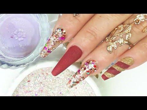 Videos de uñas - Uñas acrílicas Diseñó para Navidad con mi Mezcla luces De colores Super Elegante