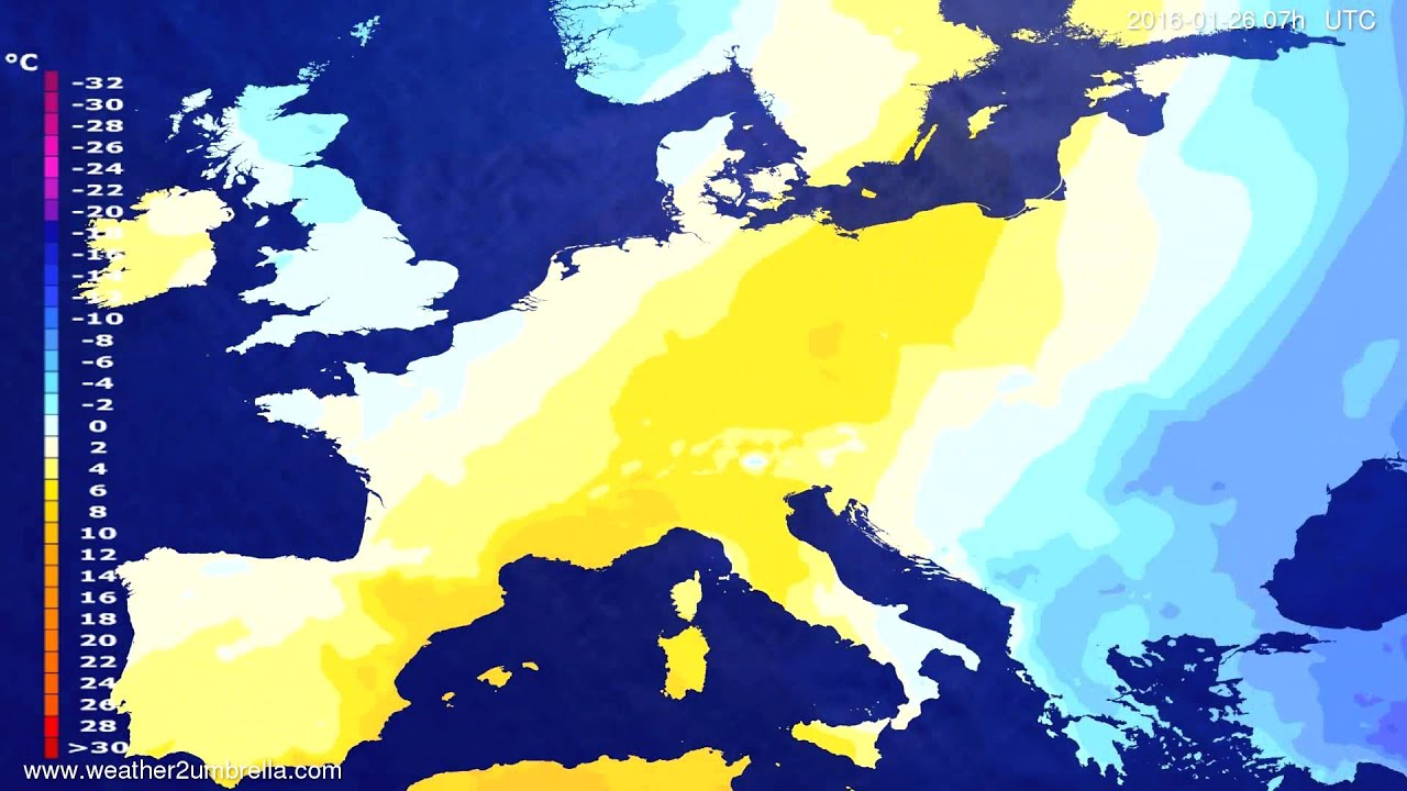 Temperature forecast Europe 2016-01-22