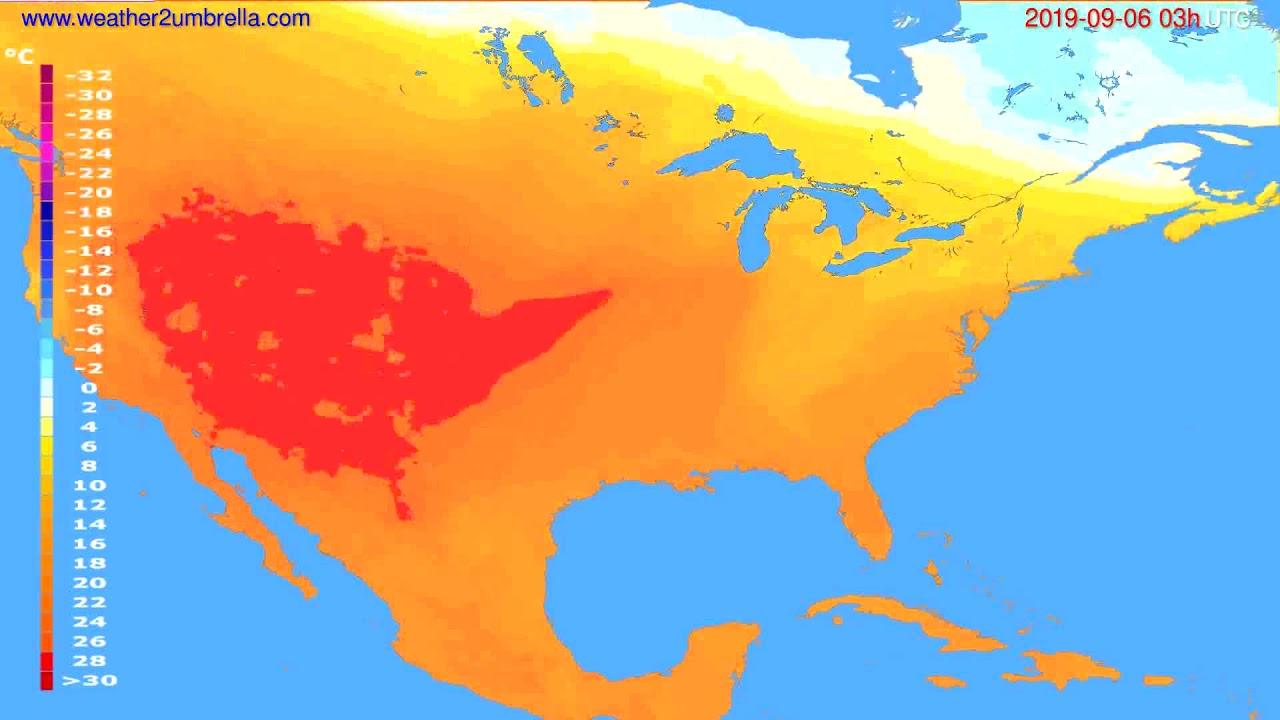 Temperature forecast USA & Canada // modelrun: 00h UTC 2019-09-03