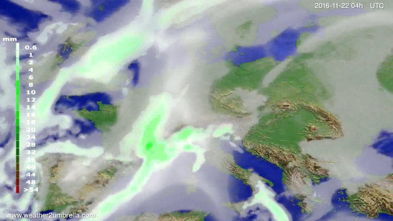 Precipitation forecast Europe 2016-11-18