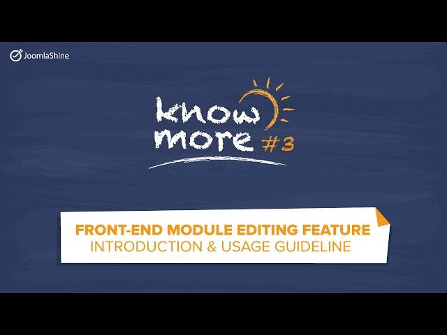 Know more #3 - Frontend module editing