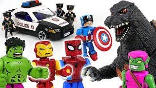 Video Dinosaur attacked police! Marvel Avengers Minimates Hulk, Spider Man, Iron Man! Go!- DuDuPopTOY MP3, 3GP, MP4, WEBM, AVI, FLV Desember 2018
