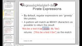 Ruby II - Regular Expression Review - Lecture 1