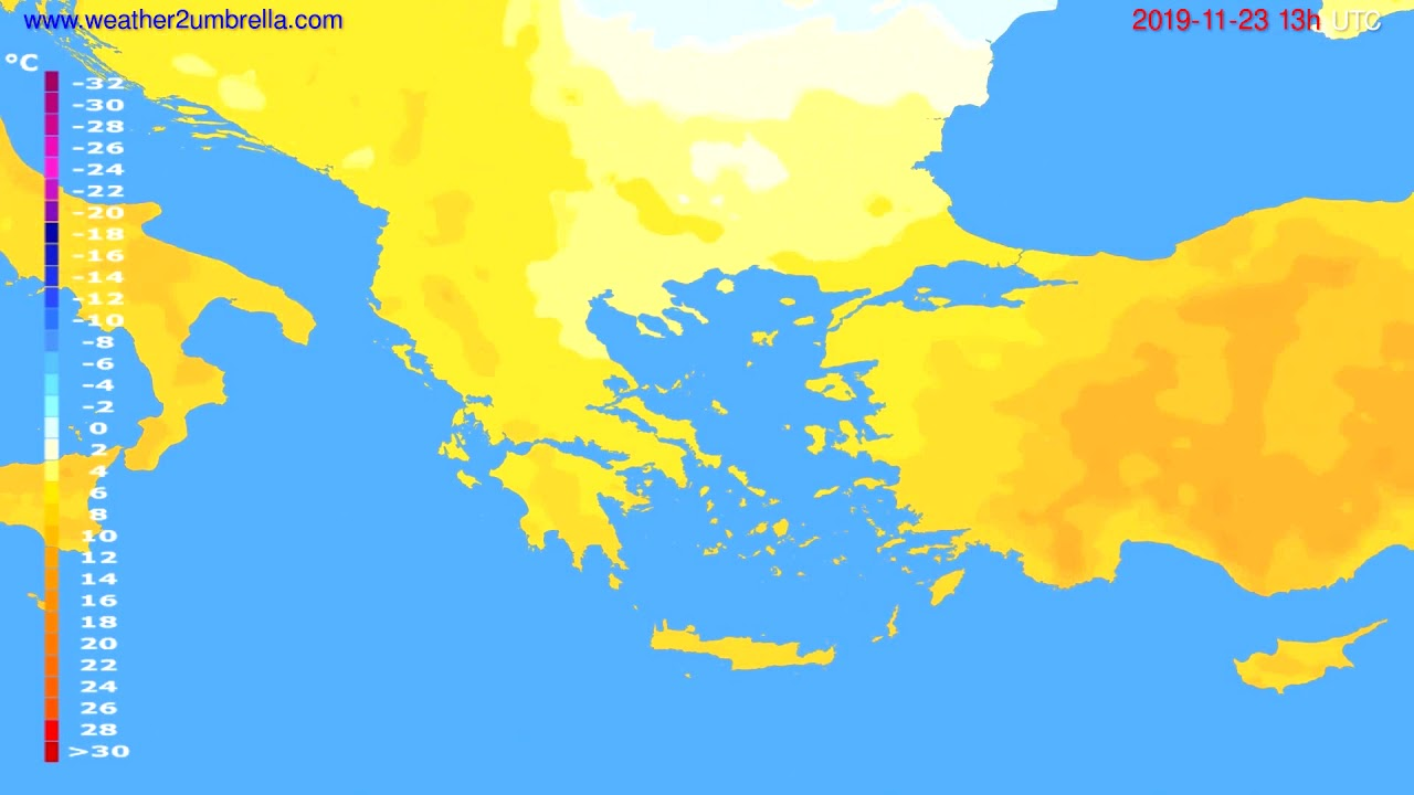 Temperature forecast Greece // modelrun: 00h UTC 2019-11-22
