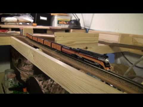 smholt - The first testrun on my new Z-scale layout. It's only a few feet of track, but I needed to check that the track was smooth and that some of my big engines wo...