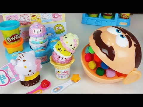 Play Doh Dentist Doctor Drill and Play doh kitty Ice Cream shop toys Baby doll play - 토이몽