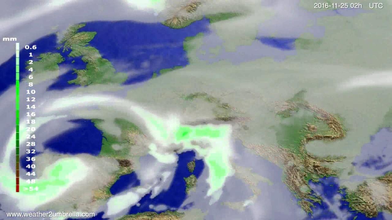 Precipitation forecast Europe 2016-11-21