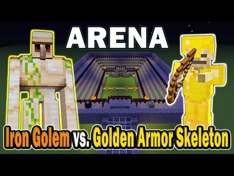 Minecraft Arena Battle Iron Golem vs. Golden Armor Skeleton
