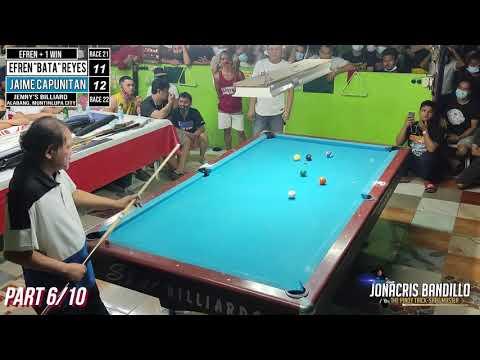 """(6) Efren """"Bata"""" Reyes VS Jaime Capunitan (Jenny's Billiard) Alabang Junction"""