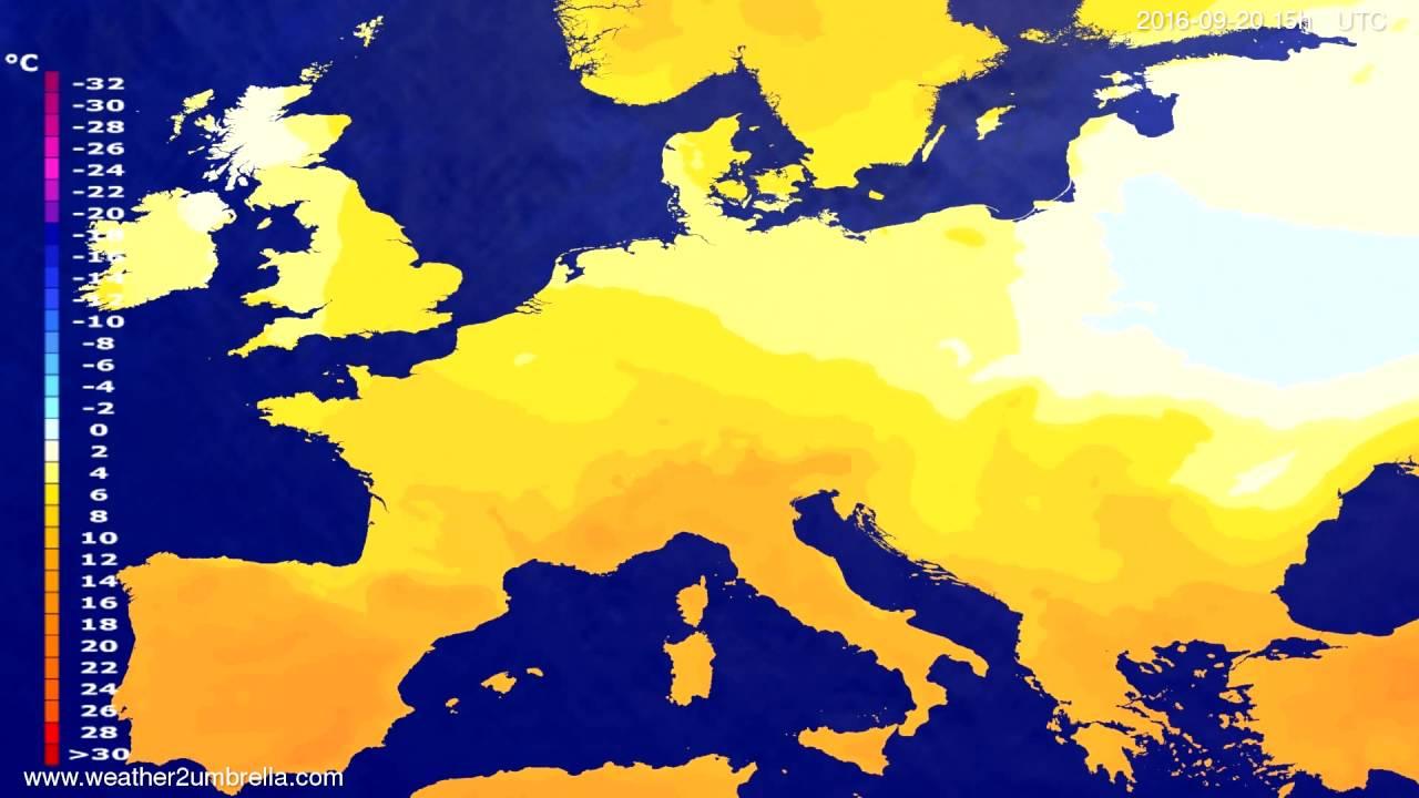 Temperature forecast Europe 2016-09-18